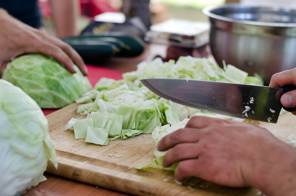 Chopping Cabbage at Instant Soup Kitchen